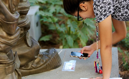 Students in the USC GeoScavenge used QR codes to get clues and answer questions about sites on the USC campus.